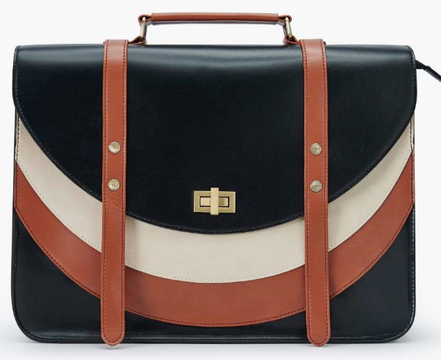 black brown and white round strips bag with golden buckle