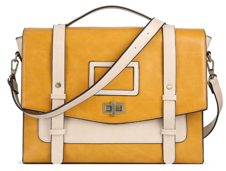 yellow bag with off-white color straps.