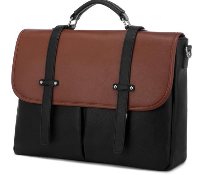 vegan messenger bag in black and brown color