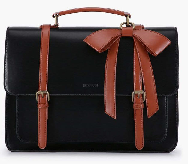 black bag with brown bow