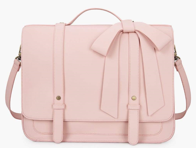 pink bag with a bow on top