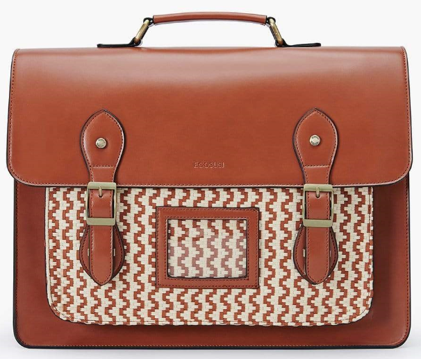 brown bag with white pattern