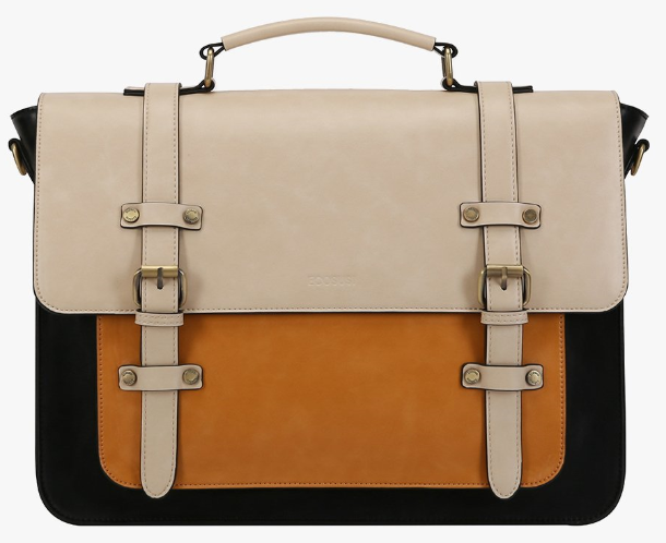 black off-white and mustard color vegan messenger bag