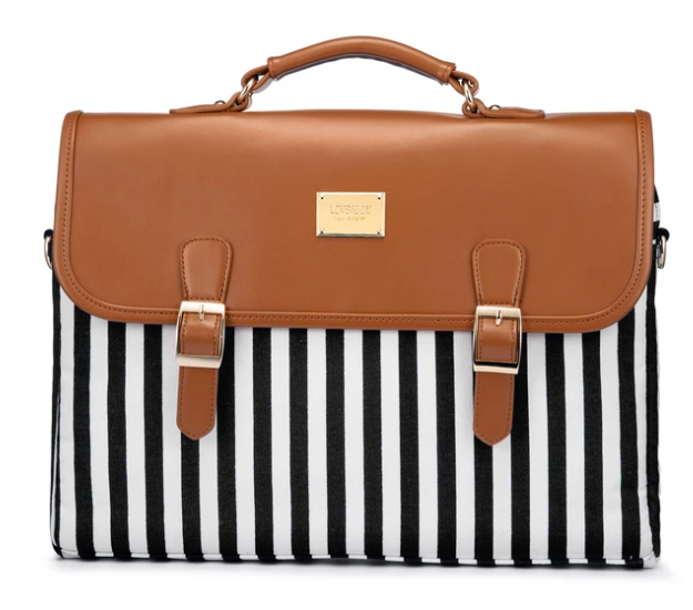 Black and white straps with brown flap messenger bag