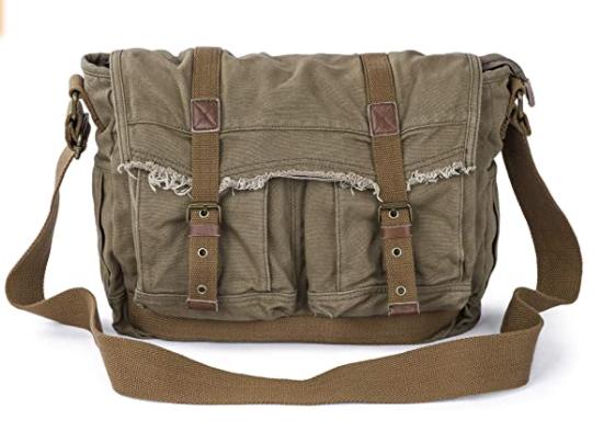 vegan canvas messenger bag