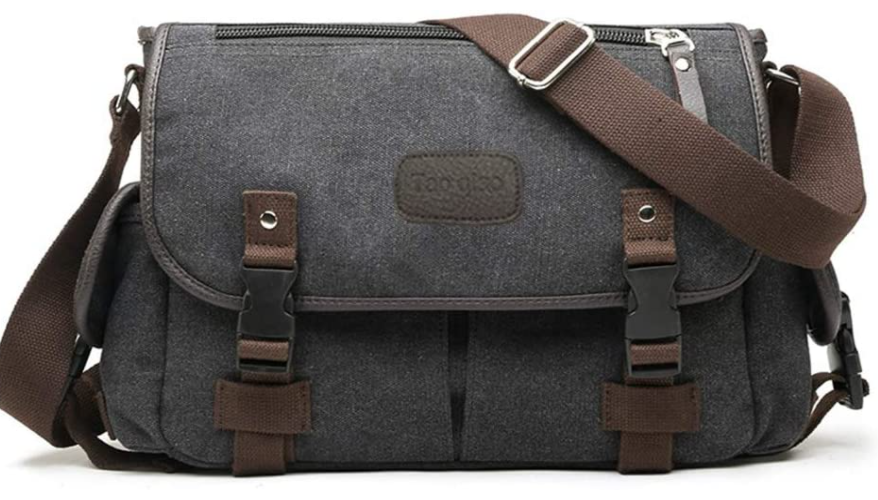 Black canvas bag with brown straps