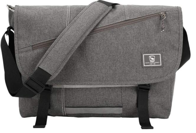 gray color vegan messenger bag