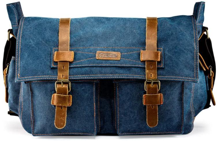 blue color canvas messenger bag with brown vegan leather straps