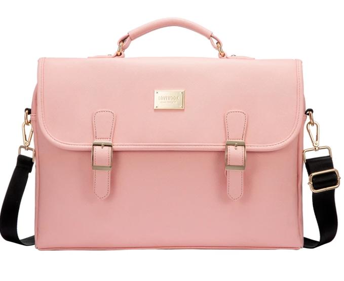 pink color vegan messenger bag