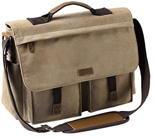 skin and brown canvas bag with strap
