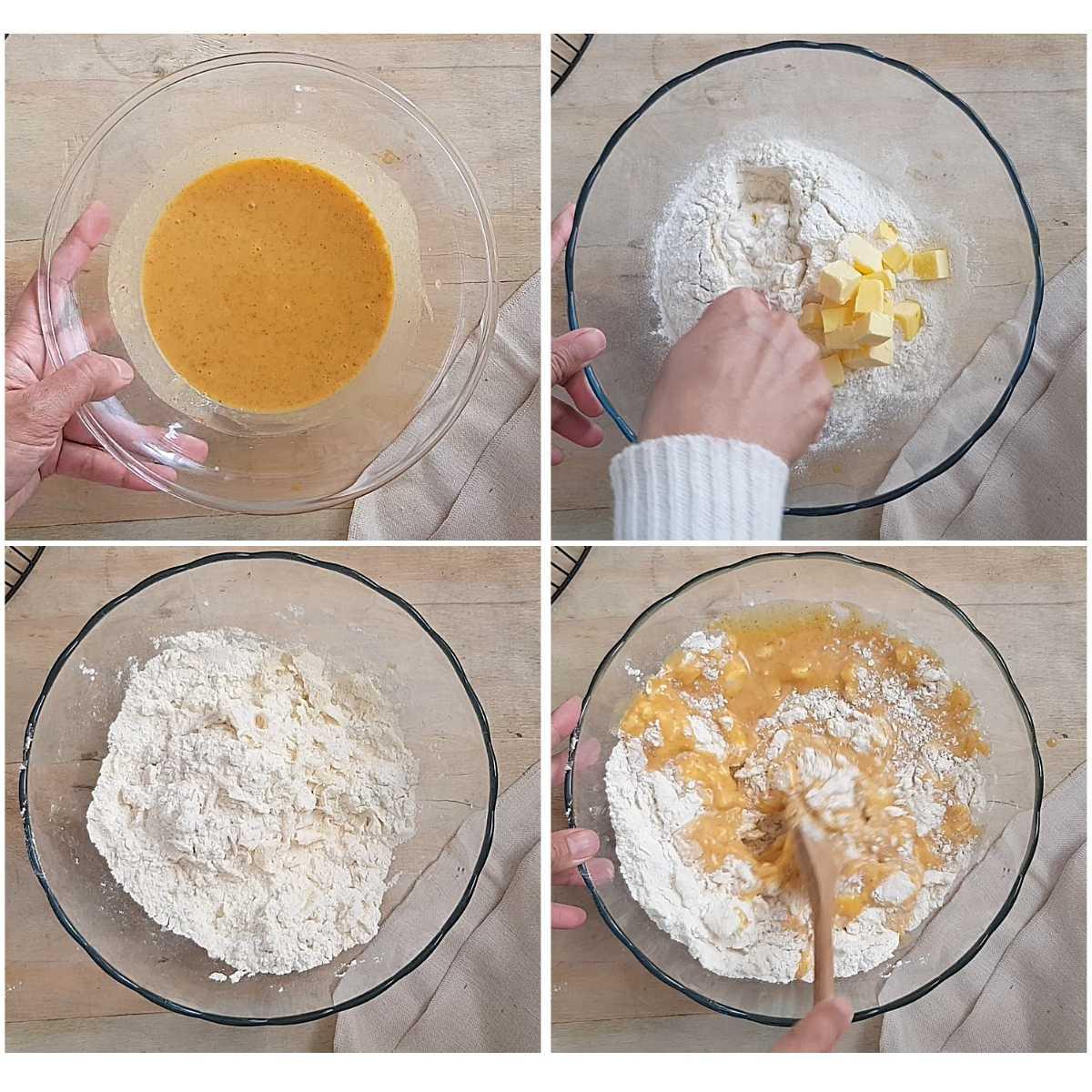 making the dough for pumpkin scones