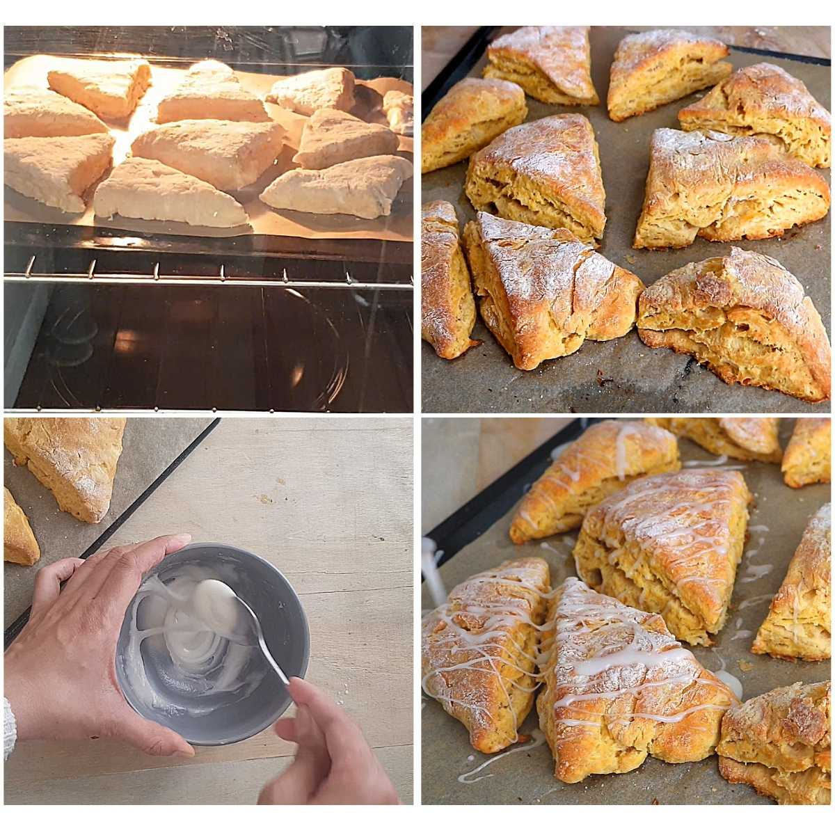 baking and glazing the vegan pumpkin scones