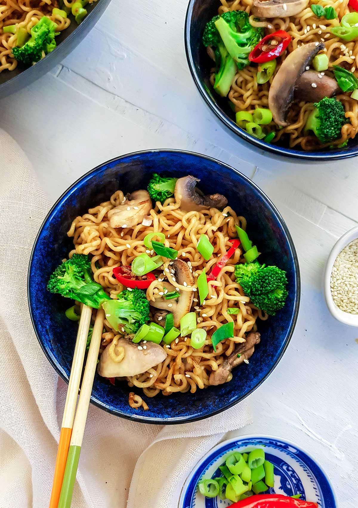 Vegan Ramen Stir fry in a bowl