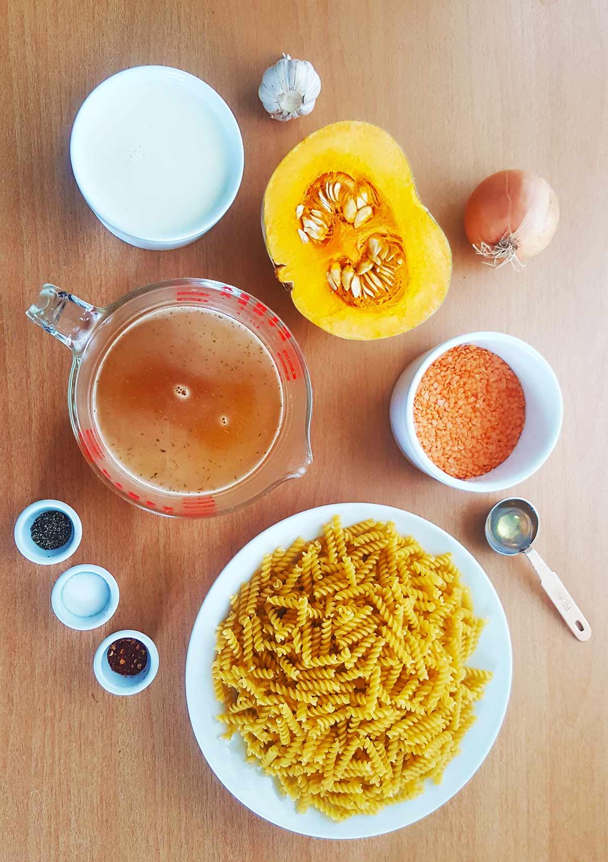 Vegan pumpkin pasta ingredients