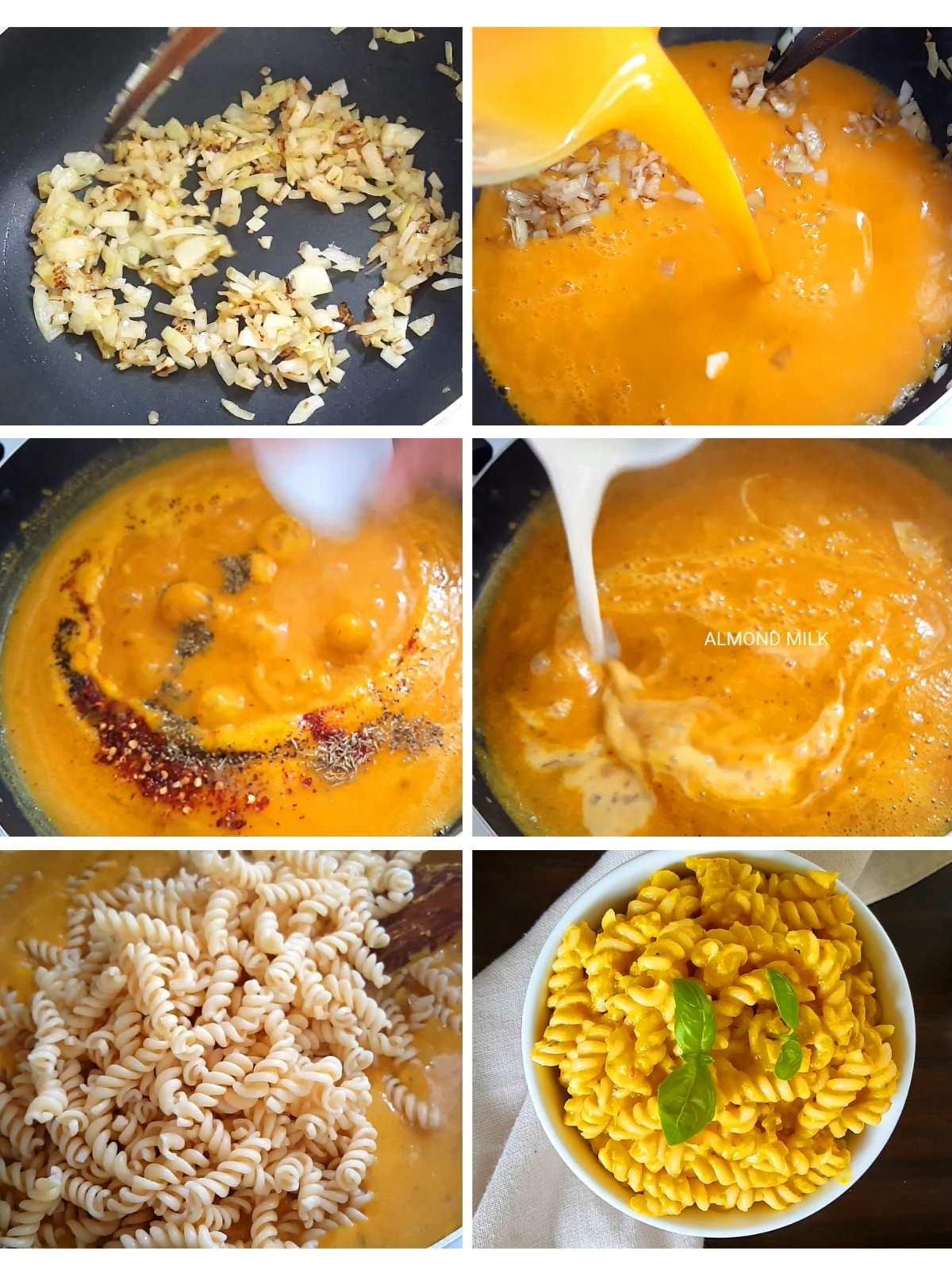 cook, season an assemble pasta procedure shots