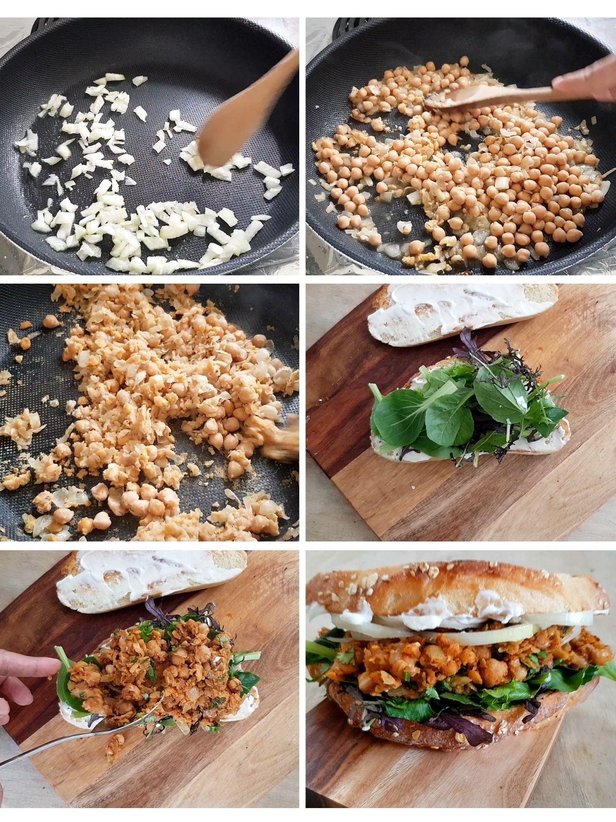 how to make Buffalo chickpea sandwich process shots