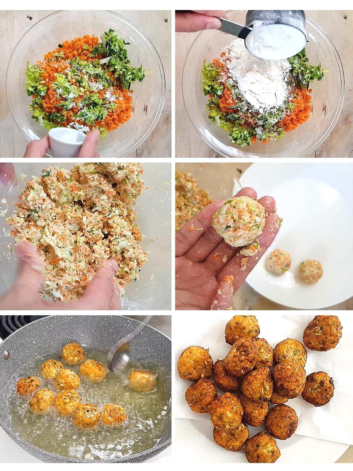process shots of how to make Manchurian balls.