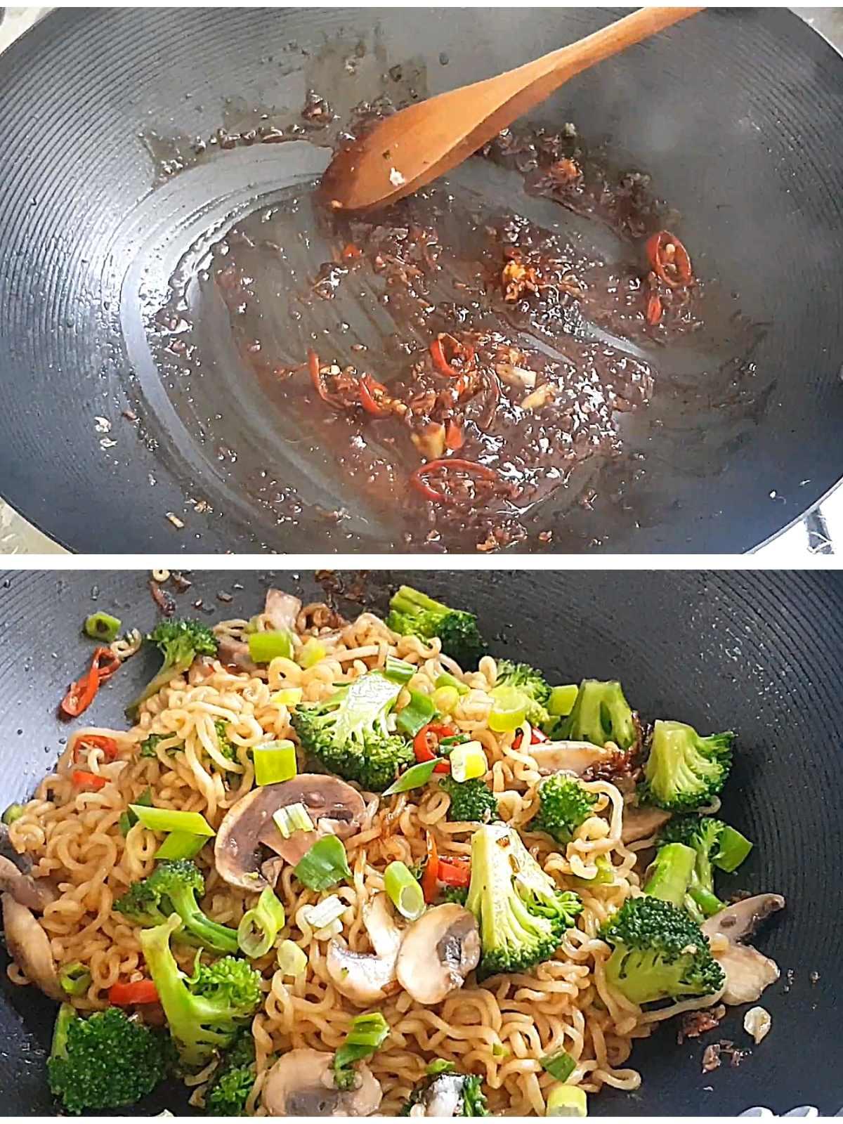 Process shots of how to make vegan ramen stir fry with veggies