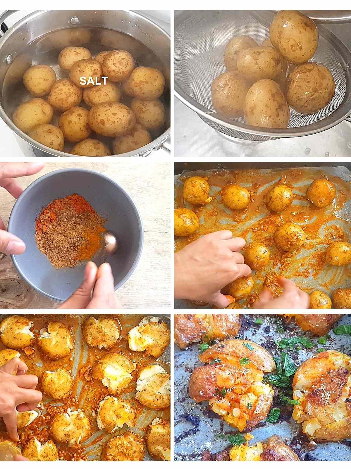 how to make vegan smashed potatoes process shots
