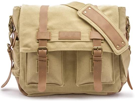 khaki color canvas bag with brown straps