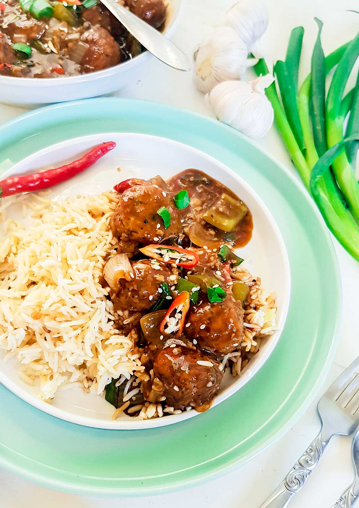 Veg Manchurian served with white rice