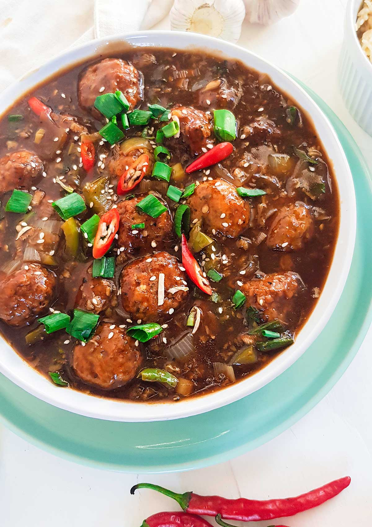 Manchurian served in a white bowl