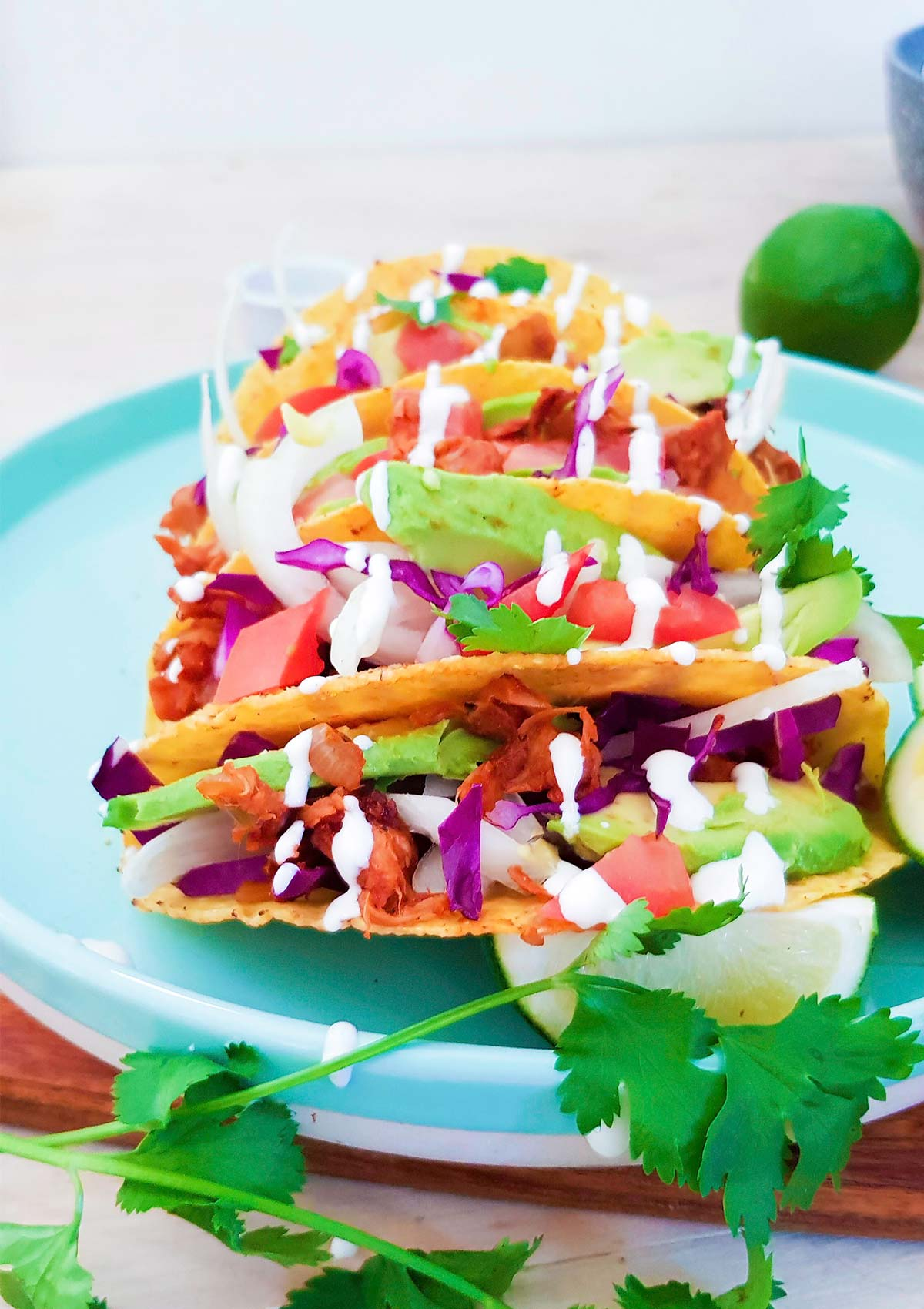 hard shell tacos placed in a plate filled with pulled jackfruit meat