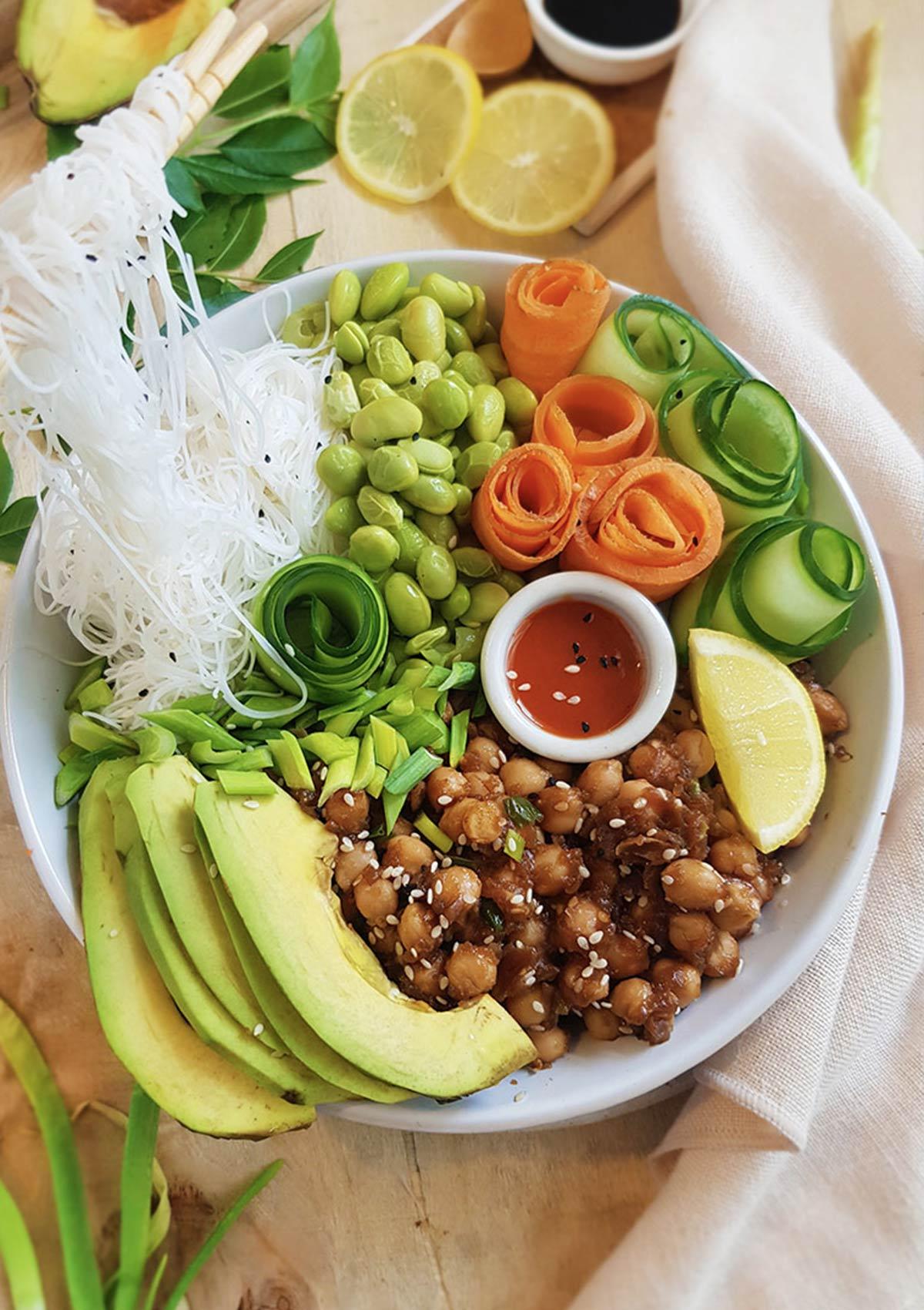 rice noodles on chopsticks