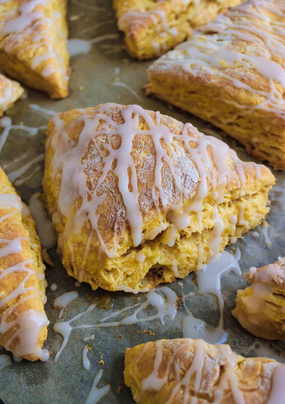 vegan pumpkin scones in baking tray ready to serve