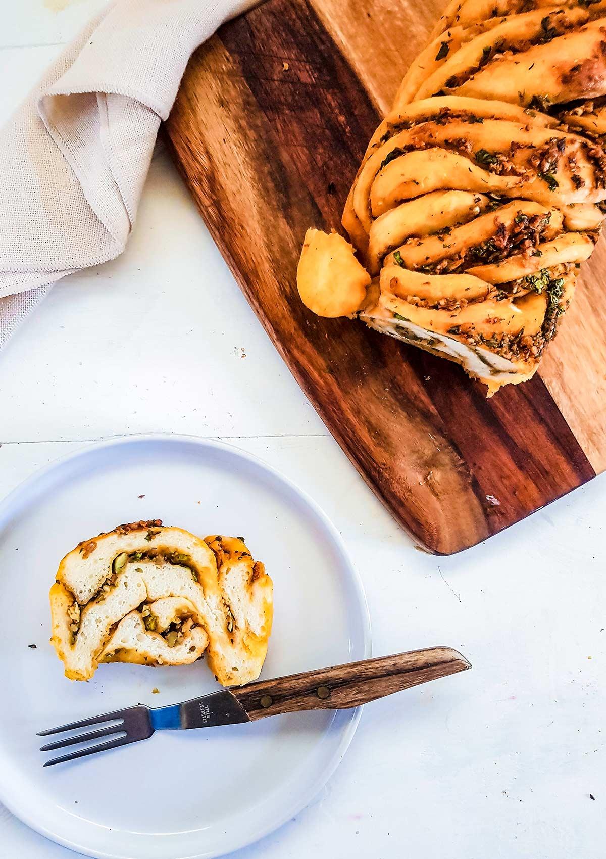 Vegan Savory Babka slice in a plate