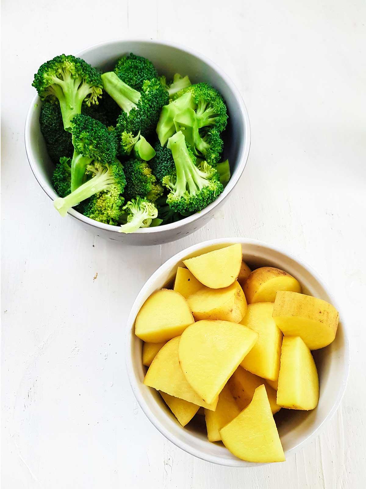 sliced potatoes and broccoli florets