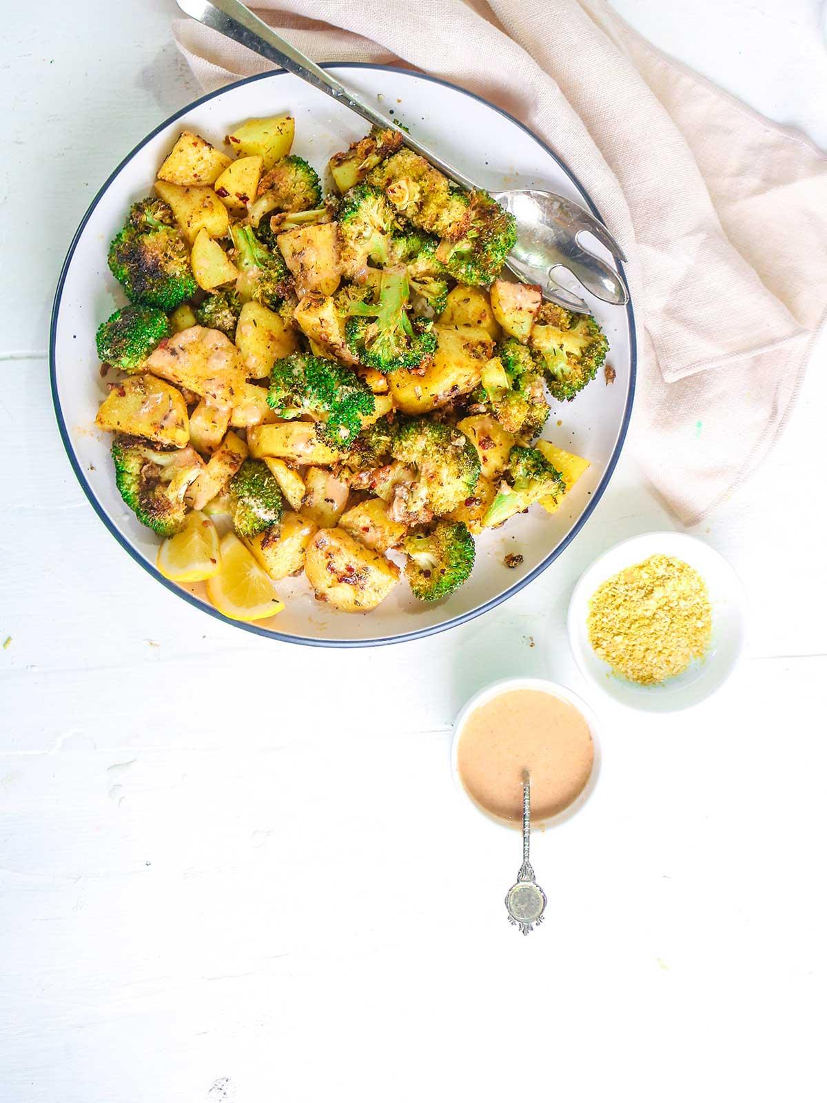 vegan parmesan and spicy tahini dressing for serving