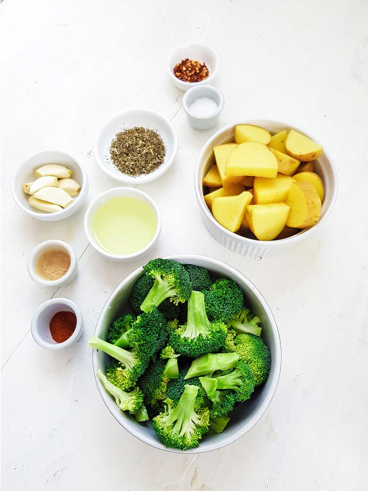 Roasted Broccoli and potatoes ingredients