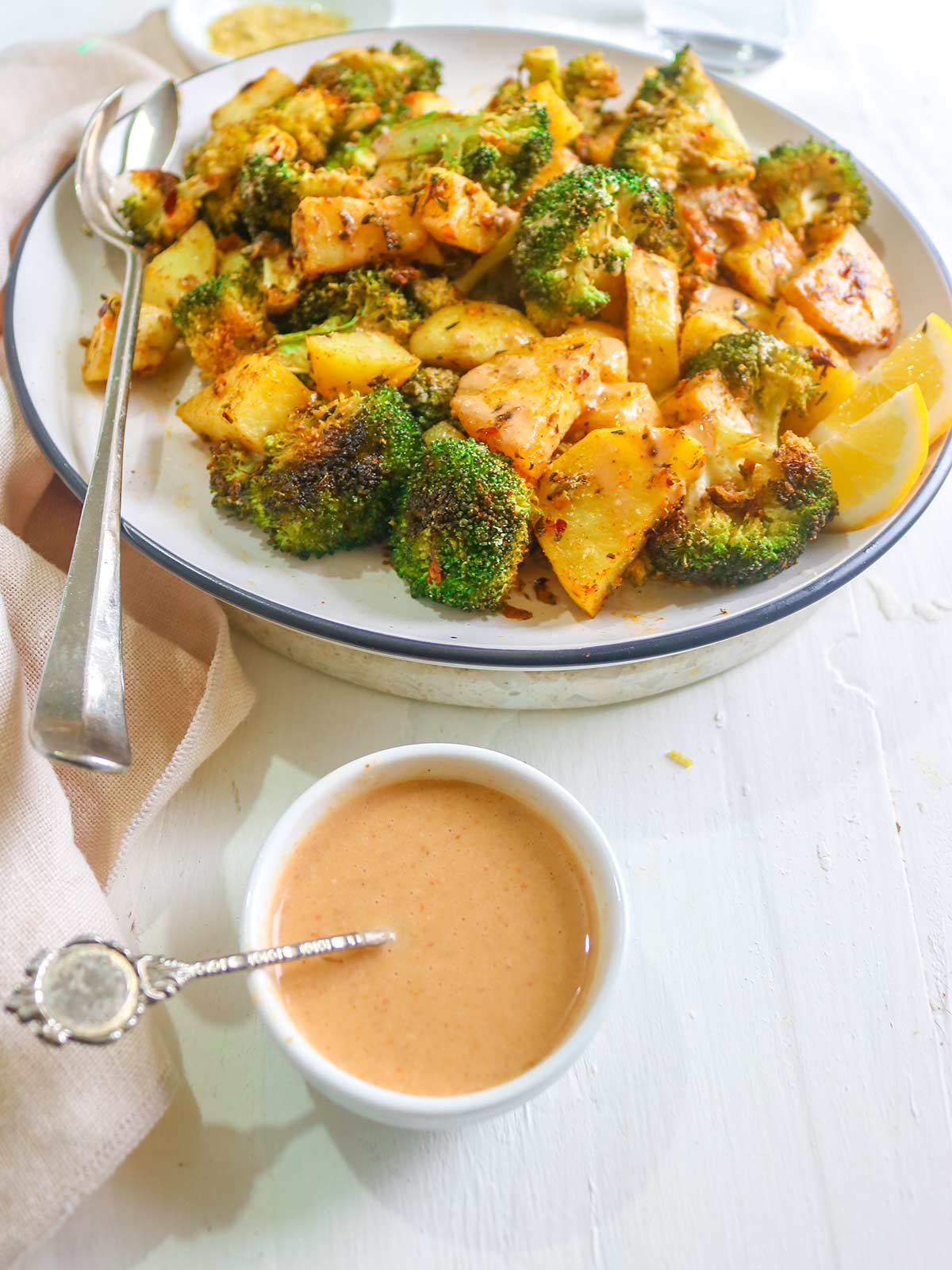 roasted veggies with tahini sauce